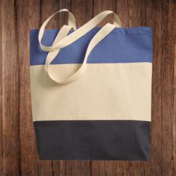 Q125900 Canvas Tri-Color Tote Bag Thumbnail